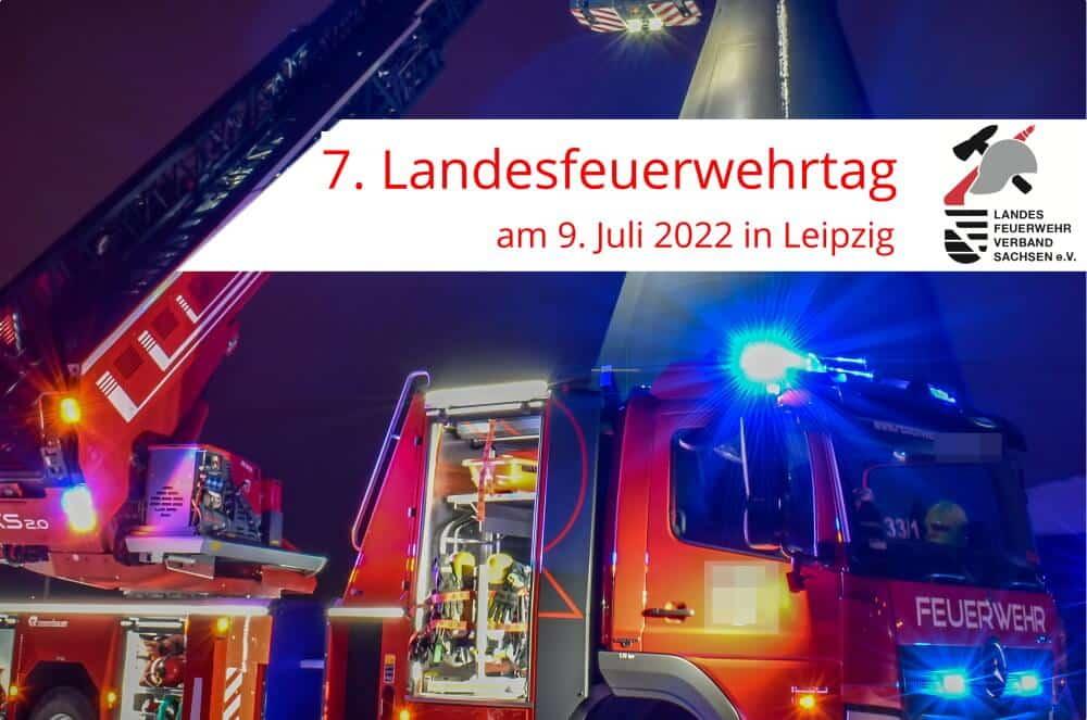 Der Landesfeuerwehrverband Sachsen e. V. hat bekannt gegeben, dass der Landesfeuerwehrtag 2022 in am 9. Juli 2022 in Leipzig stattfinden wird.