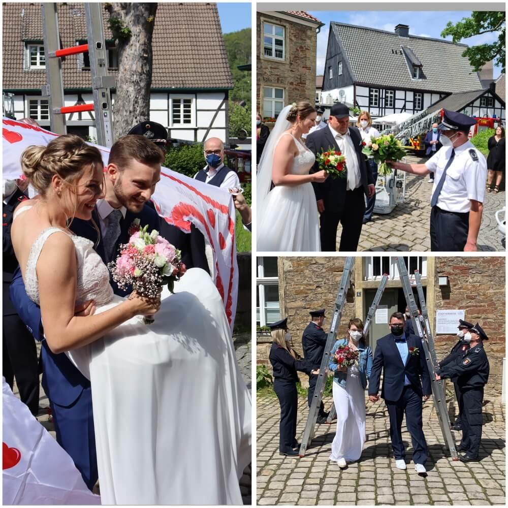 Zu gleich drei Hochzeiten standen Mitglieder der Feuerwehr Herdecke in den letzten Wochen Spalier für ihre heiratenden Kamerad*innen.