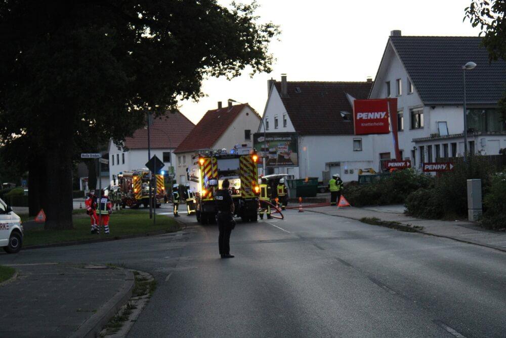 Zu einer beschädigten Gasleitung rückte die Feuerwehr Bad Salzuflen am Abend des 1. September 2021 aus.